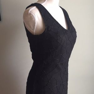 Dresses & Skirts - Jet-black Beaded Silk Gown